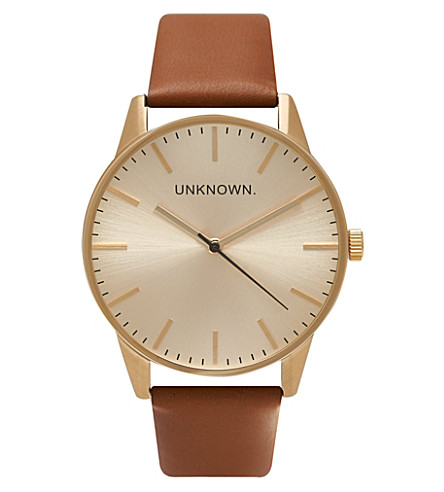 UNKNOWN UN14TC04 The Classic stainless steel and leather watch (Gold