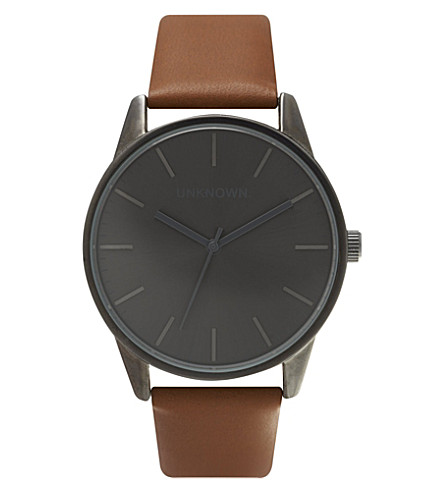 UNKNOWN UN14TC05 The Classic stainless steel and leather watch (Grey