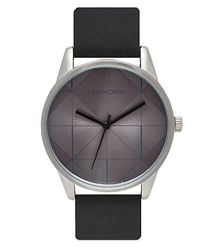 UNKNOWN Urban stainless steel and leather UN14UB01 watch