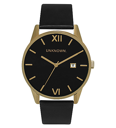 UNKNOWN Un15da07 The Dandy gold-toned stainless steel and leather watch (Black