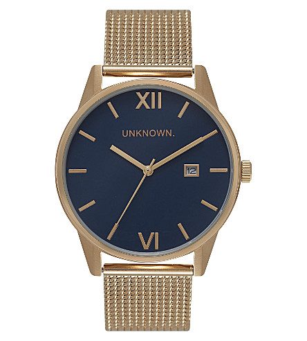 UNKNOWN Un15da08 The Dandy gold-toned stainless steel watch (Blue