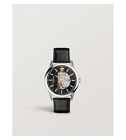 VERSACE V2001 0017 stainless steel and leather watch