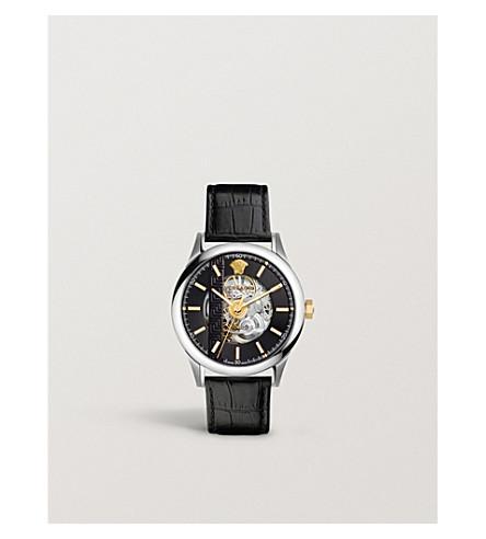 VERSACE Quartz black dial leather strap