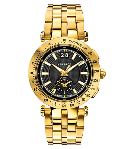 VERSACE VAH07 0016 V-Race gold-toned stainless steel watch (Black