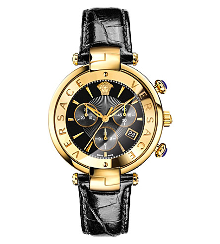 VERSACE VAJ04 0016 leather and gold-toned watch (Black