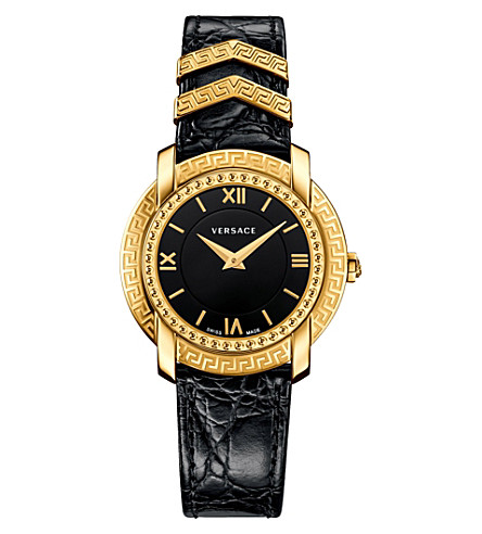 VERSACE VAM030016 DV25 Round gold-plated and leather watch