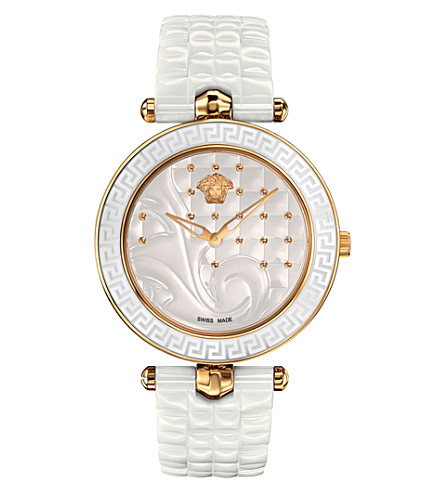 VERSACE VAO030016 Vanitas gold-plated ceramic and leather watch