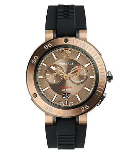 VERSACE V-Extreme bronze IP stainless steel and silicone watch