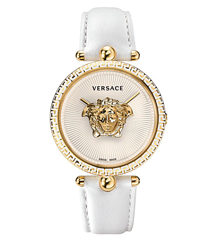 VERSACE Palazzo Empire yellow-gold and leather watch