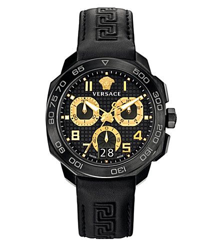 VERSACE VQC020015 Dylos steel and leather watch (Black