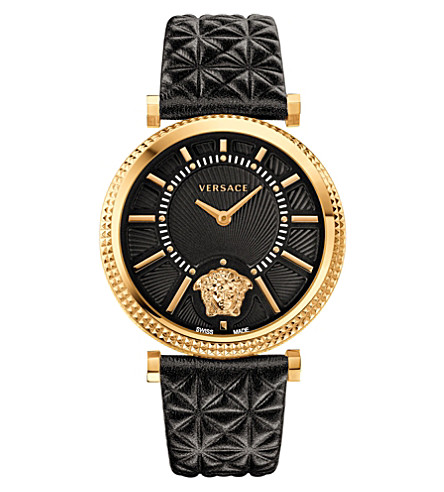 VERSACE VQG040015 V-Helix leather and gold-toned watch (Silver