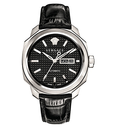 VERSACE VQI010015 Dylos Day stainless steel and leather watch (Black