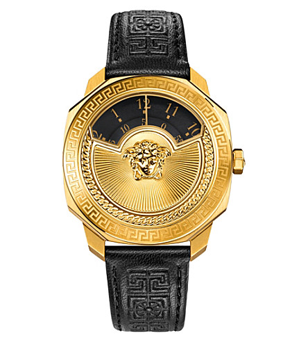 VERSACE VQU02 0015 Dylos leather watch (Black/gold
