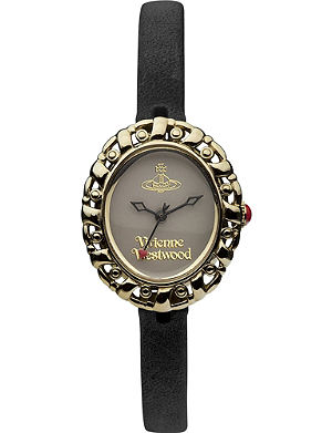 VIVIENNE WESTWOOD VV005SMBK gold-toned leather watch