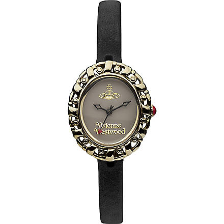 VIVIENNE WESTWOOD VV005SMBK gold-toned leather watch (White