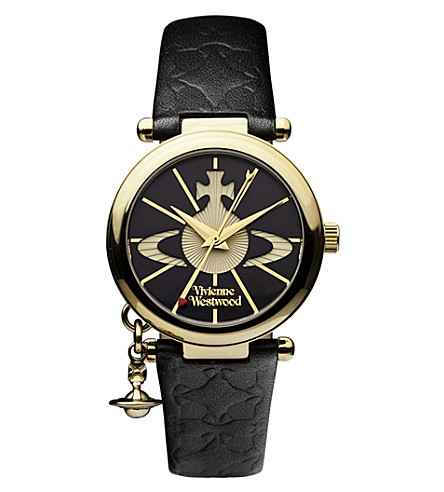 VIVIENNE WESTWOOD VV006BKGD Orb II gold-plated and leather watch (Black
