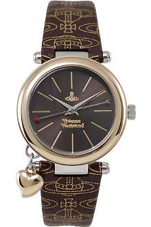 VIVIENNE WESTWOOD Orb logo strap brown watch