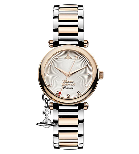 VIVIENNE WESTWOOD VV006SLRS Time Machine stainless steel and diamond watch (Silver