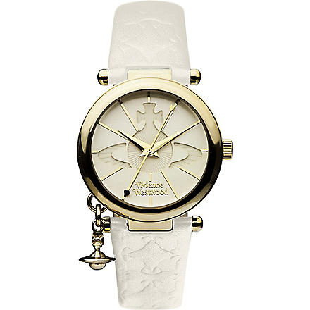 VIVIENNE WESTWOOD VV006WHWH gold-toned leather watch (White