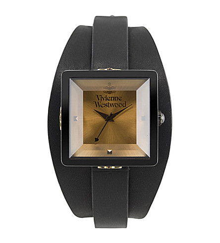 VIVIENNE WESTWOOD Cube gold dial black bangle watch (Gold