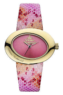 VIVIENNE WESTWOOD VV014PKPK Ellipse PVD gold-plated and leather watch