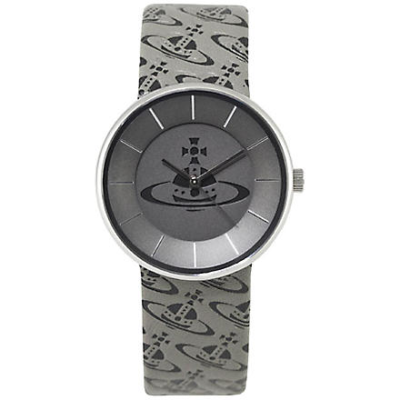 VIVIENNE WESTWOOD VV020SLBK Spirit Orb steel and leather unisex watch (Grey