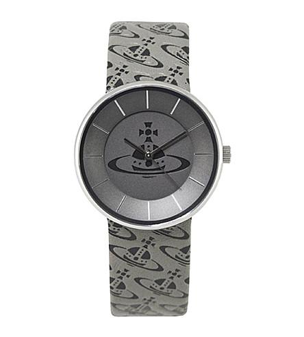 VIVIENNE WESTWOOD VV020SLBK Spirit Orb steel and leather unisex watch (Grey
