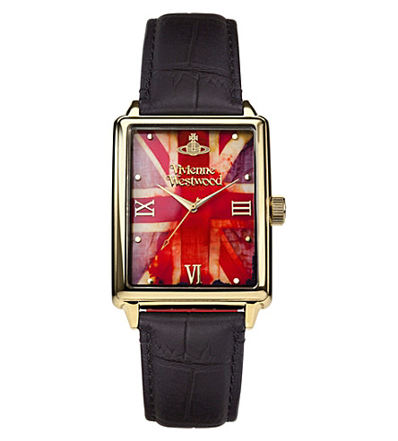 VIVIENNE WESTWOOD VV066GDBK Gold-plated and leather watch