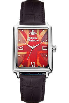 VIVIENNE WESTWOOD VV066SLBK Silver-plated and leather watch