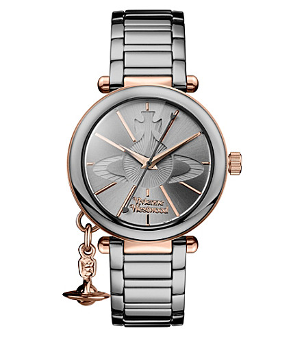 VIVIENNE WESTWOOD VV067SLTI kensington rose gold-plated and gunmetal stainless steel bracelet