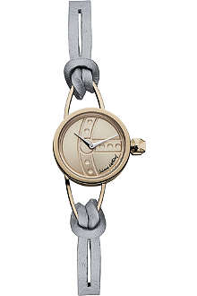 VIVIENNE WESTWOOD VV081RSGY Chancery rose gold-plated metal and leather watch