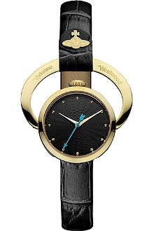 VIVIENNE WESTWOOD Engraved-frame black-dial watch