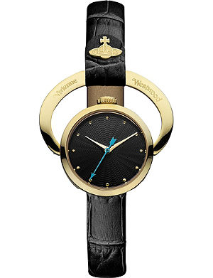 VIVIENNE WESTWOOD Engraved-frame black-dial watch