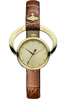 VIVIENNE WESTWOOD Horseshoe gold-plated metal and leather watch