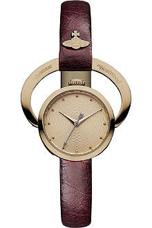 VIVIENNE WESTWOOD VV082RSRD Horseshoe rose gold-plated metal and leather watch