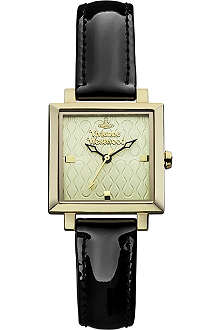 VIVIENNE WESTWOOD VV087GDBK Exhibitor PVD gold-plated metal and leather watch