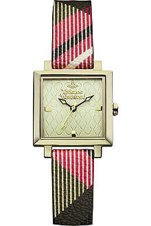 VIVIENNE WESTWOOD VV087GDBR Exhibitor PVD gold-plated metal and leather watch