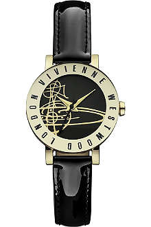 VIVIENNE WESTWOOD VV089BKBK Sudbury PVD gold-plated metal and leather watch