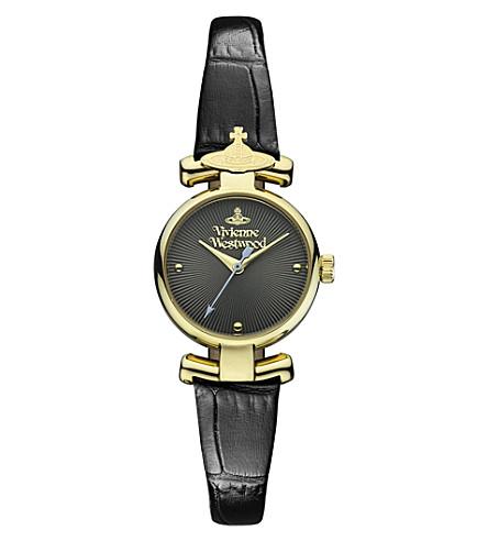 VIVIENNE WESTWOOD Croc strap round watch (Gold