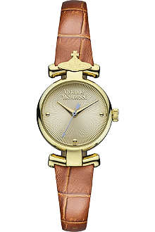 VIVIENNE WESTWOOD VV090GDBR PVD gold-plated metal and leather watch
