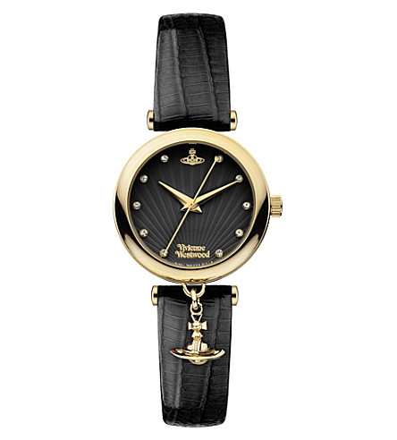 VIVIENNE WESTWOOD VV108BKBK stainless steel and leather watch (Black