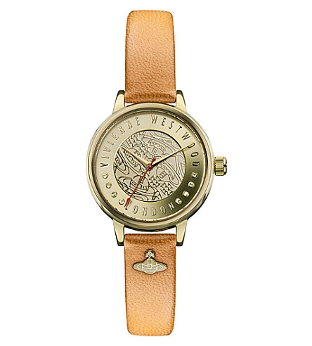 VIVIENNE WESTWOOD VV114GDTN Time Machine gold-toned and leather watch (Gold