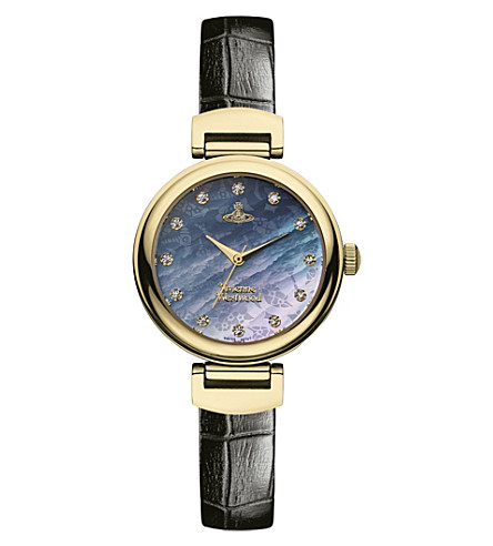 VIVIENNE WESTWOOD VV128GDBK leather and mother-of-pearl Hampton watch (Black