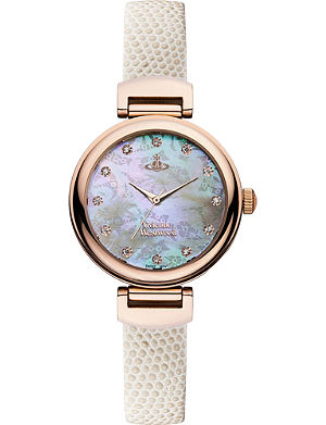 VIVIENNE WESTWOOD VV128RSWH leather and mother-of-pearl hampton watch
