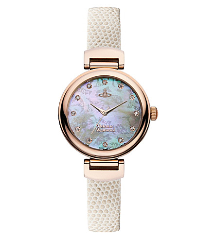 VIVIENNE WESTWOOD VV128RSWH leather and mother-of-pearl hampton watch (White