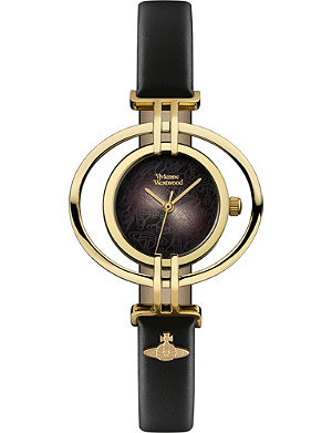 VIVIENNE WESTWOOD VV133BKBK Oval leather and gold-plated watch