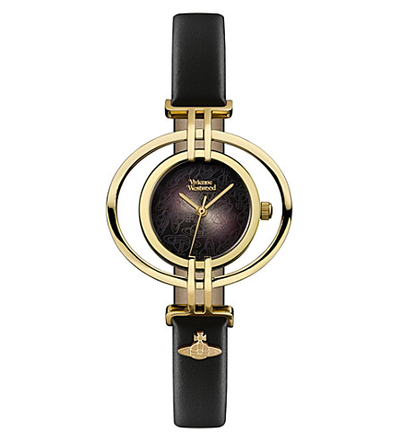 VIVIENNE WESTWOOD VV133BKBK Oval leather and gold-plated watch (Black