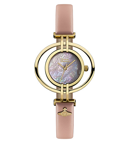 VIVIENNE WESTWOOD VV133PKPK Oval leather and gold-plated watch (White