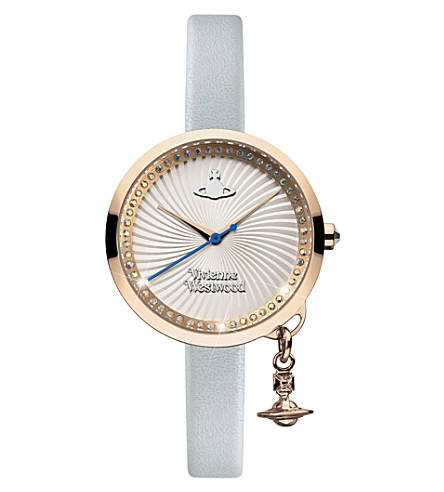 VIVIENNE WESTWOOD VV139RSBL Time Machine stainless steel and leather watch (Silver