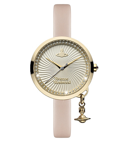 VIVIENNE WESTWOOD VV139WHPK Time Machine stainless steel and leather watch (Silver